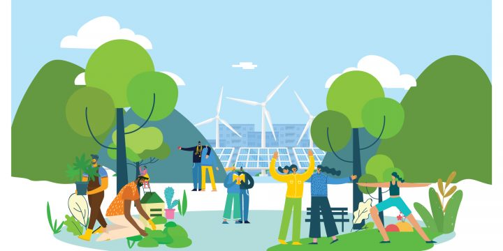 Cartoon of sustainable city - windmills and solar panels in the background, people sitting and enjoying nature in the foreground