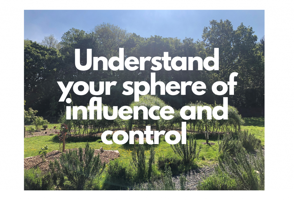 """""""Understand your sphere of influence and control"""" written over a photograph of the Laudato Si' Garden"""