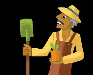 Cartoon man with a shovel